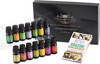Set of Top 14 Aromatherapy Essential Oils 100% Pure (10ml Each) - Therapeutic Grade Oil (downloadable Diffuser Recipe Book) Ideal for Massage, Diffusers, Humidifiers + Perfect Gifts for All