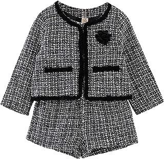 Baby Girls Plaid Skort Sets Fall Jacket Coat Pant Outfits Winter Clothing Sets 2-7 T