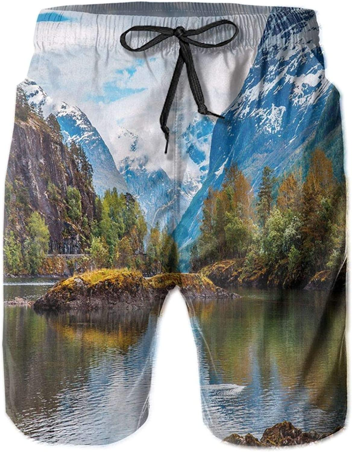 Norway Mountain Range with Snowy Peaks by The Lake Fishing Nordic Northern Landscape Mens Swim Shorts Casual Workout Short Pants Drawstring Beach Shorts,XL