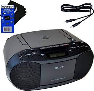 Sony CD Player Portable Boombox with AM/FM Radio & Cassette Tape Player + Auxiliary Cable for Smartphones, MP3 Players & H...