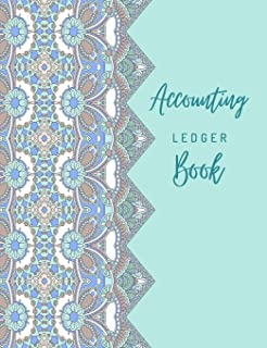 Accounting Ledger Book: General Business Ledger Checking Account Transaction Register Cash Book For Bookkeeping   6 Column Payment Record And Tracker Log Book   Blue Ornament Mandala Cover