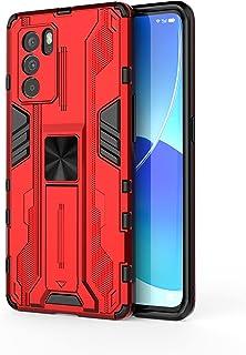 جراب Oppo Reno6 Pro 5G، جراب واقٍ متين ومتين ومقاوم للصدمات مع مسند، جراب واقٍ مضاد للصدمات لهاتف Oppo Reno6 Pro 5G-Red