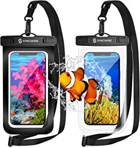 Syncwire Waterproof Phone Pouch [2-Pack] - Universal IPX8 Waterproof Phone Case Dry Bag with Lanyard Compatible with iPhone 12/11 Pro XS MAX XR X 8 7 6 Plus SE 5s Samsung S10+ and More Up to 7 Inches