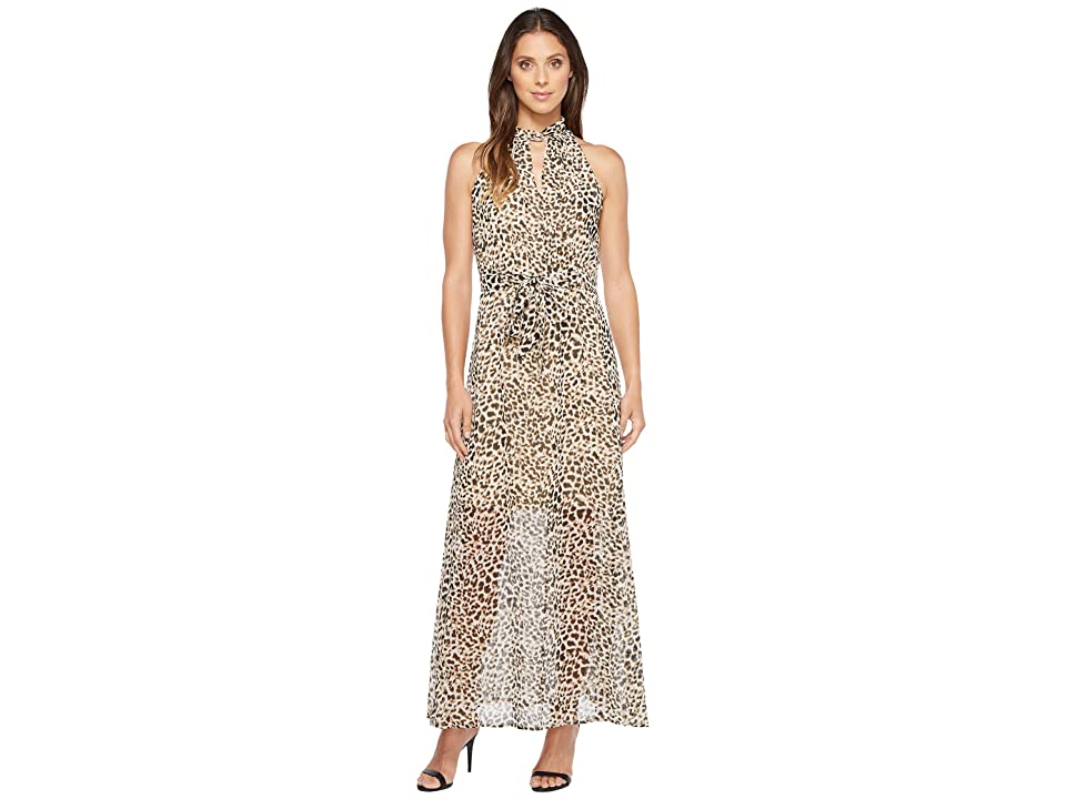 Calvin Klein Printed Maxi with Tie Belt (Leopard) Women
