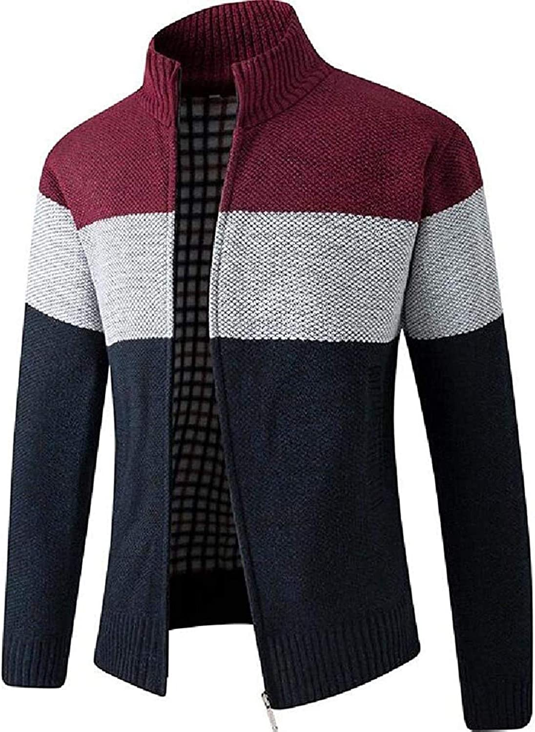 Men's Casual Slim Fit Contrast Color Stand Collar Zip Up Knit Cardigan Sweater