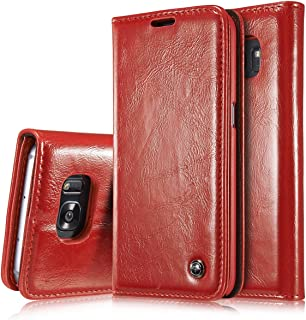 Protective Case Compatible with Samsung PU Leather Wallet Magnetic Design Flip Folio Protective Case Cover with Card Slot/Stand Compatible Samsung Galaxy S7 Edge Phone case (Color : Red)