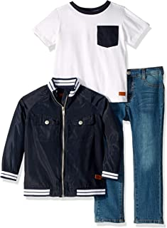 Boys' Toddler Nylon Jacket, Jersey T-Shirt, and Denim Short Set