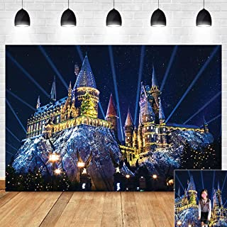 Halloween Night Light Scenery Magic Castle Photography Backdrop Decoration Hogwarts Witch Wizard Photo Background Children Birthday Portrait Party Banner 5x3ft Vinyl Baby Shower Supplies Photo Booth