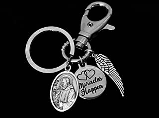 Miracles Happen Saint Pio KeyChain Angel Wing Silver Key Ring Gift Inspirational Jewelry Catholic Medal Patron Saint of Civil Defense Workers, Adolescents and Stress Relief