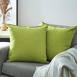 Topfinel juego 2 Fundas cojines sofas de Algodón Lino duradero Almohadas Decorativa de color sólido Para Sala de Estar, sofás, camas, sillas 45x45cm Verde Mostaza