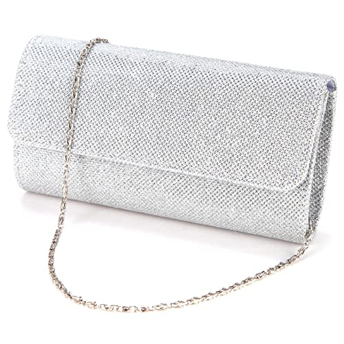 848202c23e Silver Clutch Bag: Amazon.co.uk