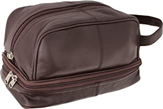 RAS WALLETS Mens Genuine Leather Travel Overnight Wash Gym Toiletry Shaving Bag with Carry Handle 3530 (Brown)