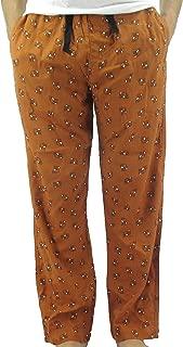 Men's Orange Fox All Over Print 100% Cotton Flannel Pajama PJ Bottoms