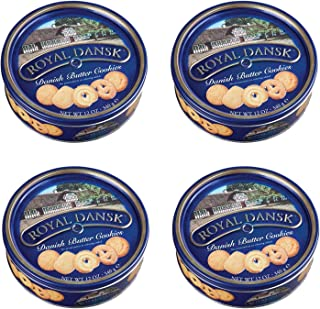 Royal Dansk 81997 Danish Butter Cookies (Pack of 4), Blue Flat Display, Reusable Classic Tin Filled, Made of Real Butter, Net Weight 12 Ounce (340 gr)