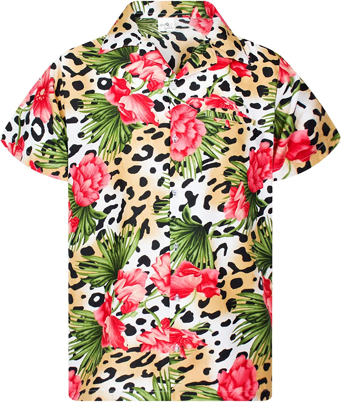 KING KAMEHA Hawaiian Shirt for Men Funky Casual Button Down Very Loud Shortsleeve Unisex Leopard Flowers