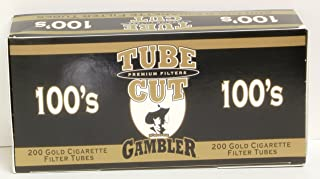 Gambler Tube Cut Gold Cigarette Filters 100's 5boxes of 200