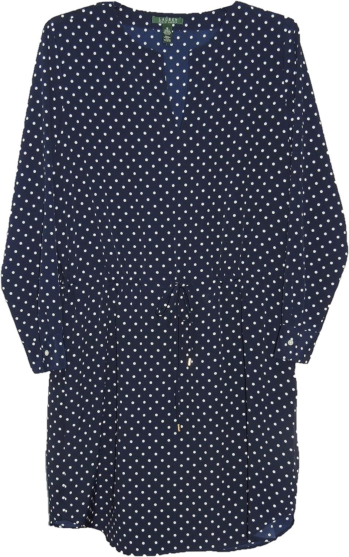 Lauren Ralph Lauren Women's Polka Dot Split Neck Dress Navy/Pearl, 16