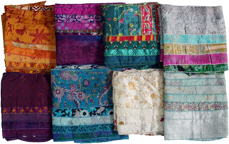 Mango Gifts Women's Silk Sari Fabric Scarves Scarfs 5 Strips Trendy Stole 10 Pieces Lot