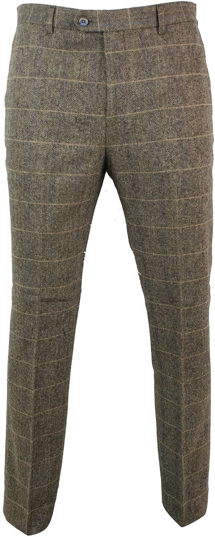 1920s Men's Pants, Trousers, Plus Fours, Knickers CAVANI Mens Herringbone Tweed Vintage Retro Check Wool Trousers Peaky Blinders Classic Navy-Blue-macy 30 $94.49 AT vintagedancer.com