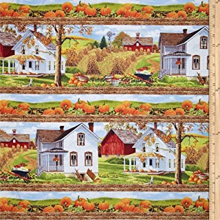 Bringing in the Harvest Farm House Stripe Cotton Quilt Fabric