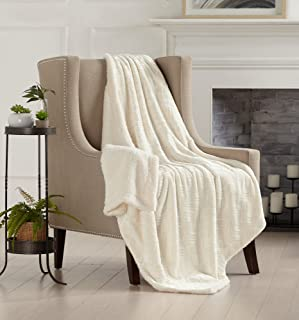 Home Fashion Designs Premium Reversible Two-in-One Sherpa and Sculpted Velvet Plush Luxury Blanket. Fuzzy, Cozy, All-Season Berber Fleece Throw Blanket Brand. (White)