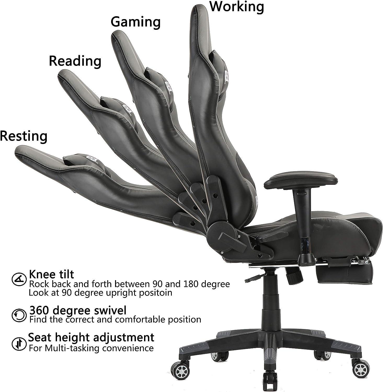 Silla reclinable de cuero para oficina ejecutiva con reposapi/és retr/áctil altura ajustable en altura Silla ergon/ómica para juegos con reposacabezas y soporte lumbar para masaje