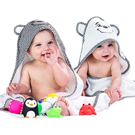 Blue and White Newborn Essential -Perfect Baby Registry Gifts for Boy Girl Ultra Soft Hooded Towels for Babies,Toddler,Infant 2 Pack Premium Bamboo Baby Bath Towel