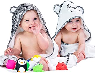 """Hooded Baby Bath Towel For Boys & Girls, 2 Piece Gift Set, 30"""" x 30"""" , 100% Cotton Terry Towels, Unisex Design for Infant..."""