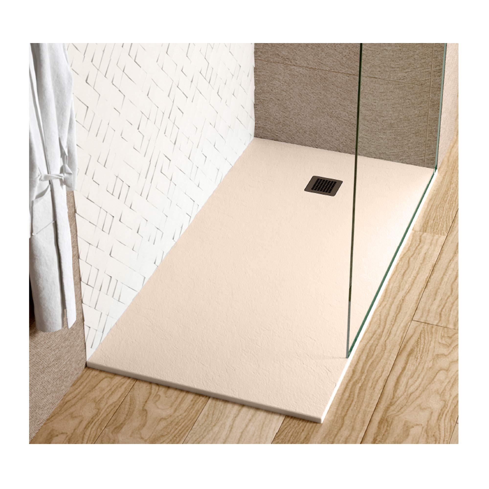 Plato de ducha IBIZA en Resina con textura Pizarra. (100 x 80 cm, Beige): Amazon.es: Bricolaje y herramientas