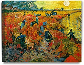 DECORARTS - The Red Vineyards, Vincent Van Gogh Art Reproduction. Giclee Canvas Prints Wall Art for Home Decor 20x16