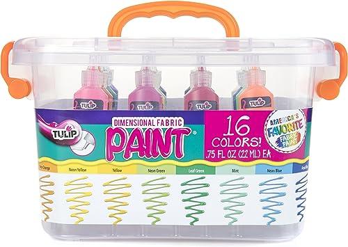 Tulip Dimensional Fabric Paint Big Box, Creative Party Kit, Includes Reusable Plastic Bin, Permanent 3D Paint for Fas...