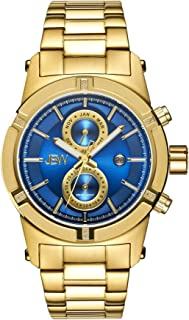 JBW Luxury Men's Strider 0.12 ctw Diamond Wrist Watch with Stainless Steel Link Bracelet Standard Gold/Blue