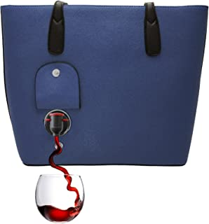 PortoVino Wine Purse (Blue) - Fashionable purse with Hidden, Insulated Compartment, Holds 2 bottles of Wine!
