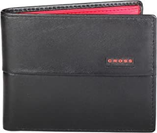 Cross Black & Inside - Scarlet Red Men's Wallet (AC048121N-4)