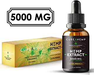 Pure Hemp Oil Extract - for Pain Relief, Anxiety and Sleep Support - 5000MG Full Spectrum Raw and Organic Blend (1)