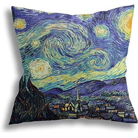 Starry Night By Vincent Van Gogh Throw Pillow Cover Home Decorative Cushion Case Oil Painting Art Pillow Case With Zipper Sofa Bed Car Square 18 X 18 Set Of Two Home