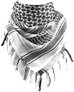100% Cotton Scarf Military Shemagh Tactical Desert Keffiyeh Head Neck Scarf Arab Wrap with Tassel 43x43 inches