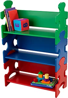 KidKraft Wooden Puzzle Piece Bookcase with Three Shelves - Primary