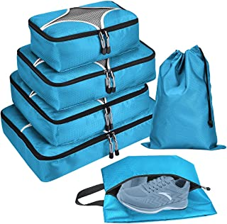6 Set Packing Cubes - Travel Luggage Pack Organizers with Laundry Bag & Shoe bag