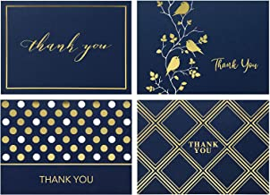 Spark Ink 100 Thank You Cards With Envelopes, Thank You Notes Variety Pack, Perfect for Wedding, Bridal and Baby Shower, Graduation or Business, Blank Inside, Navy Blue and Gold Foil, 4x6 Photo Size