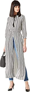 Miss Chase Women's Black and White Striped Round Neck 3/4th Sleeves Crepe Fusion Wear Maxi Top