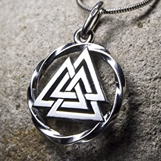 Valknut Viking Odin Knot Sterling Silver Pendant Necklace for Men Women Celtic Nordic Pagan Jewelry Norse Mythology Warrior Symbol Amulet Talisman Handmade