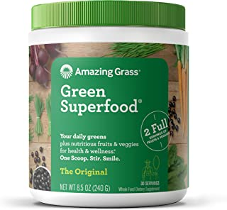 Amazing Grass Green Superfood: Super Greens Powder with Spirulina, Chlorella, Digestive Enzymes & Probiotics, Original, 30...