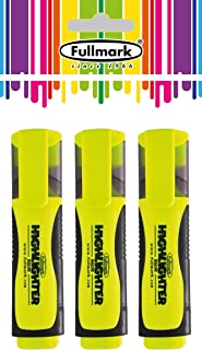 Fullmark Fluorescent Highlighter, Chisel Tip, Assorted Colors, 3-Count (All Yellow)