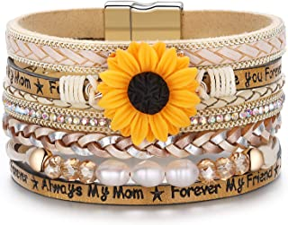 Sunflower Bracelets Gifts for Women Mom Sunshine Leather Boho Multilayer Wide Bracelets Jewelry Birthday for Women Teen Girls