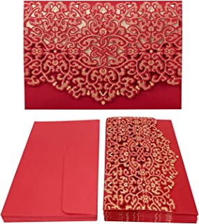 Gold Fortune 25 Packs Laser Cut Quinceanera Wedding Invitations with Insert Cards Kit and Envelopes for Party Favors (YC063 Red)