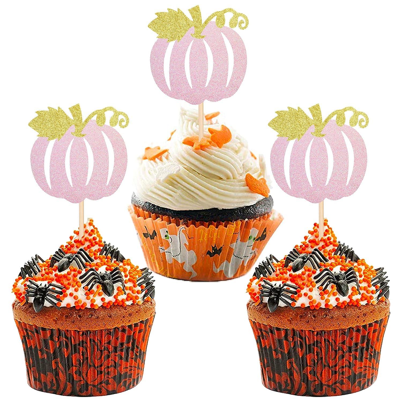24 PCS Pumkin Cupcake Toppers Glitter Picks Baltimore Mall Import Fall Theme Cake Deco