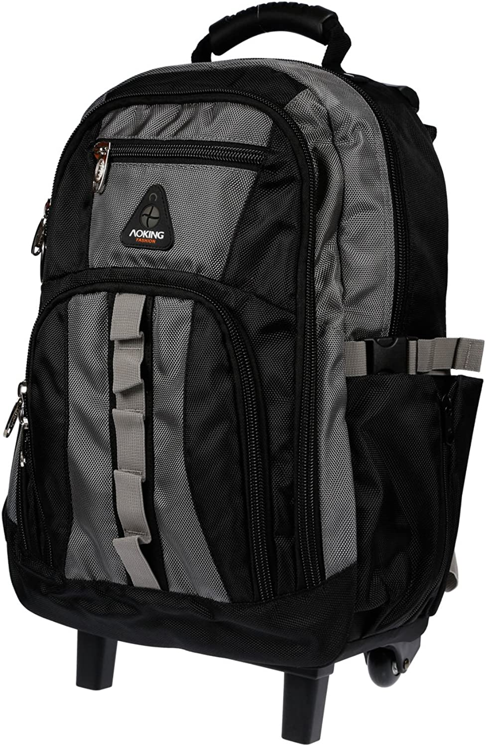 Folding Trolley Backpack Trolley School Backpack Bag Various Colours, Black Grey (Grey)  AK510