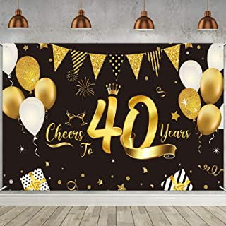 40th Birthday Decorations Supplies, Extra Large Fabric Black Gold Cheers to 40 Years Banner Sign 40th Birthday Party Backd...