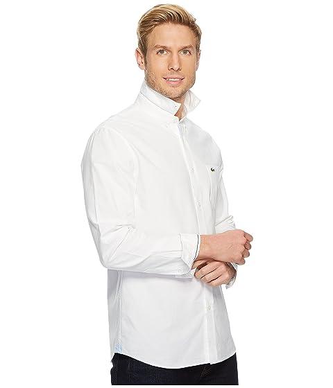 larga Oxford Collar Manga Lacoste Blanco Down Regular Button gBqPnwCxwA